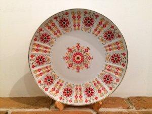 画像1: ハンガリー ホロハーザ   大皿  朱色の花柄  24.5cm