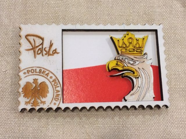 ポーランド 木のマグネット 国旗...